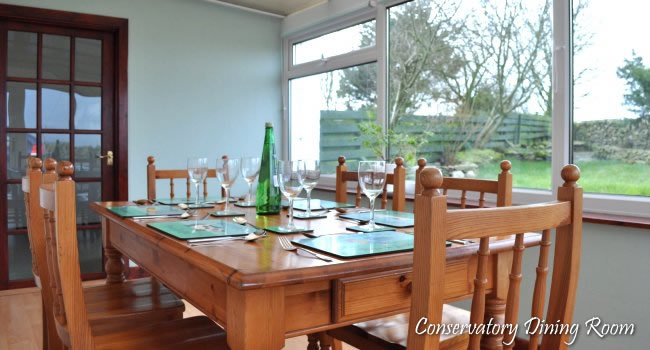 Conservatory dining at cults cottage, Wigtownshire